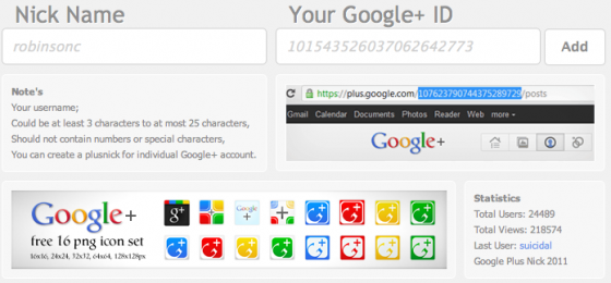 google+ profile nickname