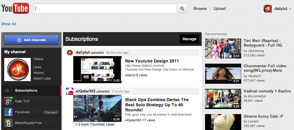 new youtube design