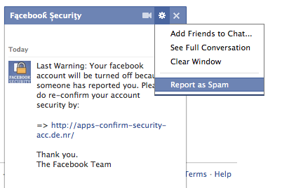 facebook security spam
