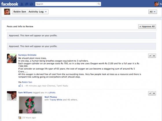 facebook timeline approve