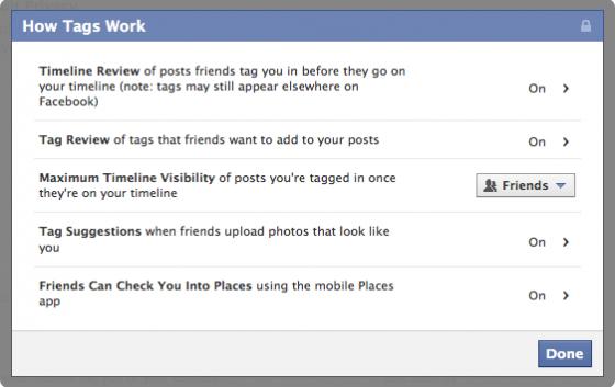 facebook timeline tags