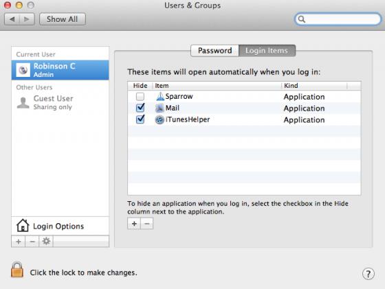 mac osx login items