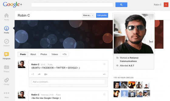new google plus design 2012