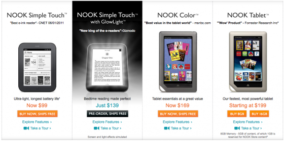 nook ebook readers