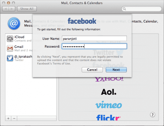 Update Twitter and Facebook Contacts on OS X