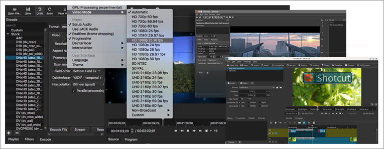 shotcut editing features