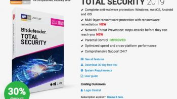 bitdefender total security 2019 discount coupon